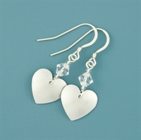 Picture of Aluminium Small Round Heart & Crystal Earrings JE15b-A