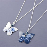 Picture of Denim Butterfly & Crystal Necklace JS5b-de