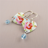 Picture of Spring Small Round Heart & Crystal Earrings