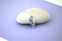 Picture of Grey Chambray Oval & Pearl Necklace JS78