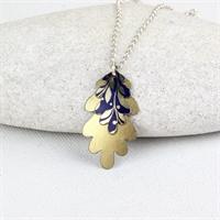 Picture of Gilt Oak Leaves Necklace JS18-G