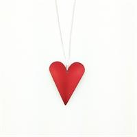 Picture of Red Aluminium Medium Slim Heart Necklace JS7