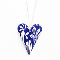 Picture of Italian Blue Medium Slim Heart Necklace JS7