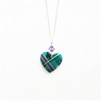 Picture of Green Tartan Small Round Heart & Crystal Necklace